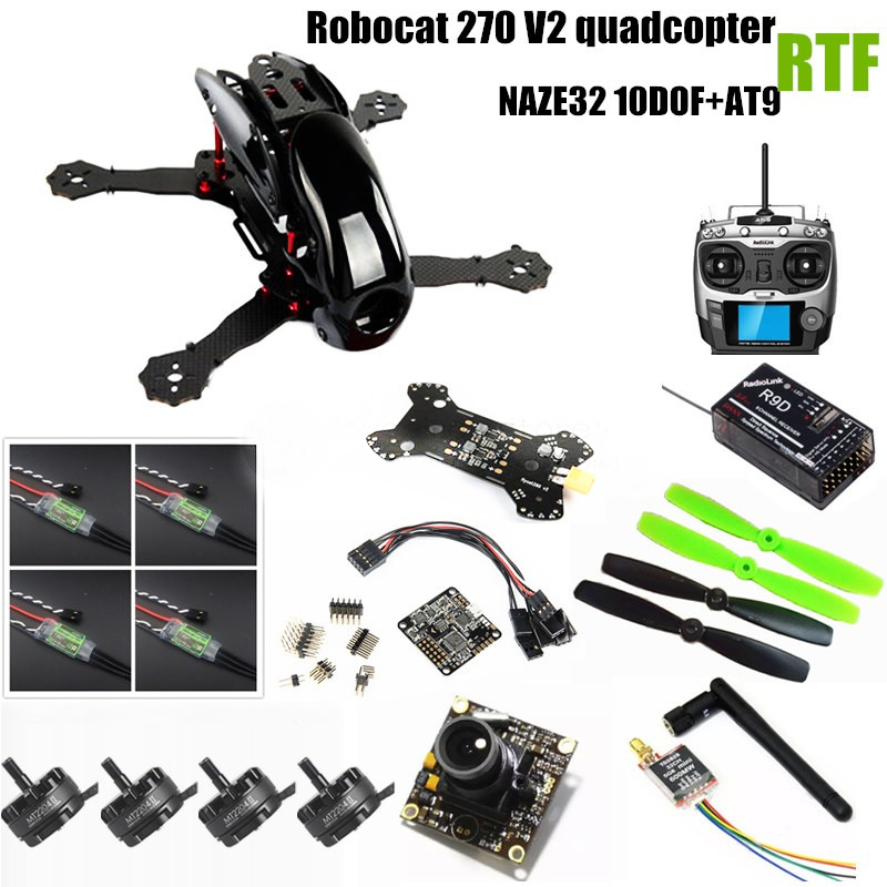 DIY FPV mini drone quadcopter Robocat 270 V2 RTF NAZE32 10DOF + EMAX 2204II KV2300 motor +AT9 remote control + 700TVL HD camera diy fpv mini drone qav210 zmr210 race quadcopter full carbon frame kit naze32 emax 2204ii kv2300 motor bl12a esc run with 4s