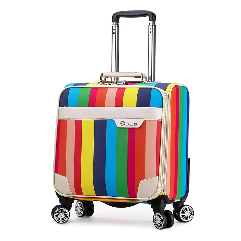 New Retro stripe 18 inch 100% PU Rolling Luggage bag mala Spinner brand Colorful Suitcase Women cute Travel bag Trolley suitcase