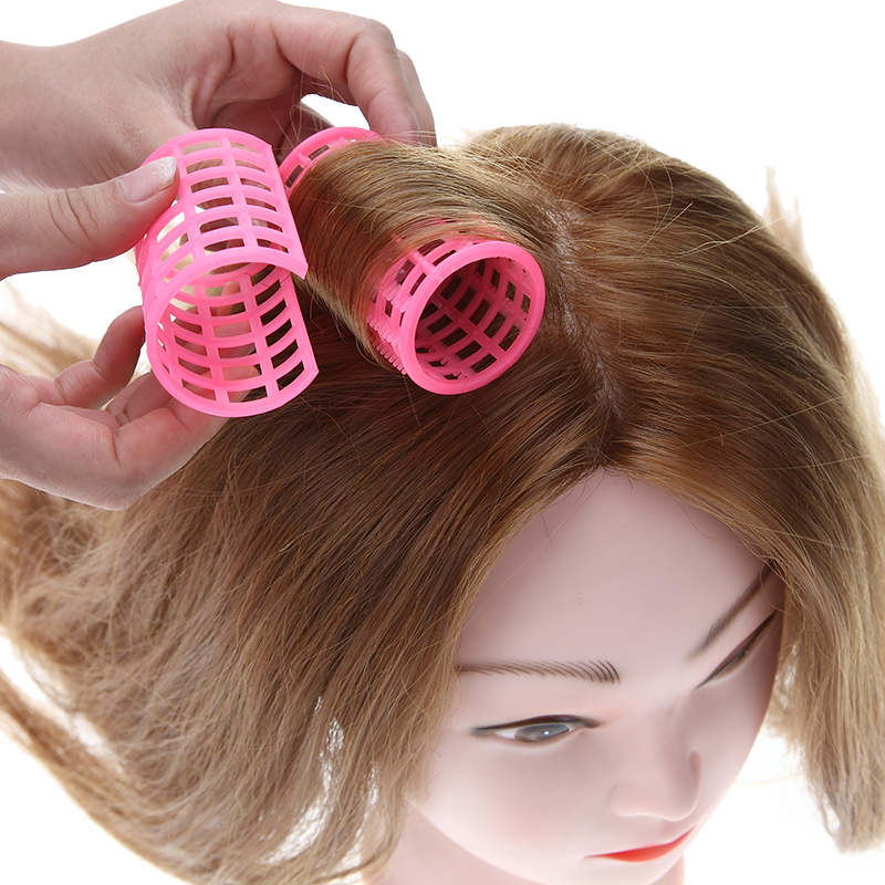 12 Pcs/Set Pink Plastic DIY Hair Styling Roller Curlers Clips Large Grip Styling Roller Curlers Hairdressing Tools Styling Home