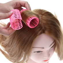 12 Pcs/Set Pink Plastic DIY Hair Styling Roller Curlers Clips Large Grip Styling