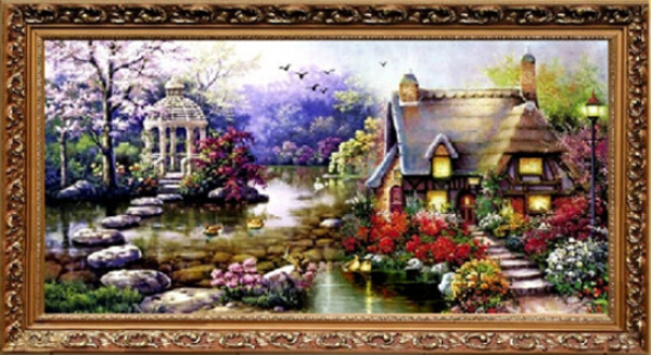 beautiful diy handmade cross stitch embroidery kit garden cottage design home decoration 6937cm embroidered cloth