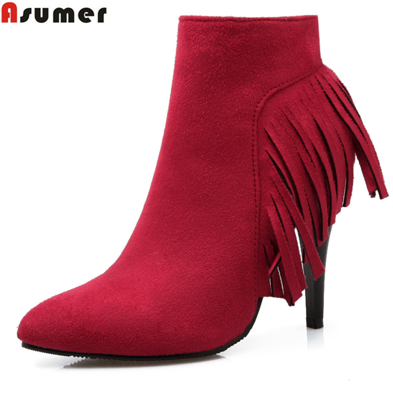 Asumer 2017new arrive hot sale fashion tassel women boots stiletto high heels pointed toe shoes solid nubuck leather ankle boots