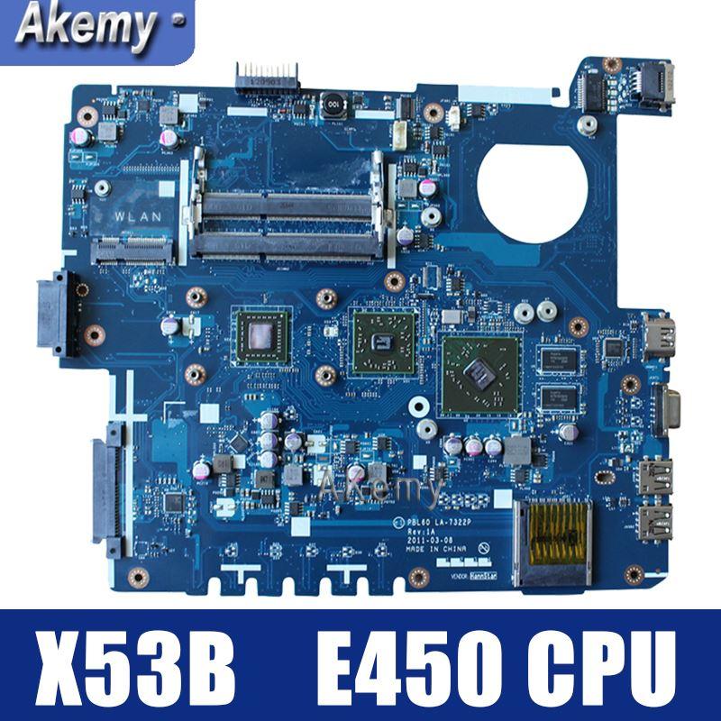 Amazoon X53B Laptop motherboard para ASUS X53B K53B X53BY X53BR K53BR K53BE Teste mainboard original PBL60 LA-7322P REV: 1A E450CPU