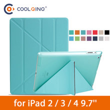 Multi-folded Tablets Case For iPad 2/3/4 Smart Protective Cover PU+PC Connection Translucent PC Hard Tablet Case For iPad 4 Case