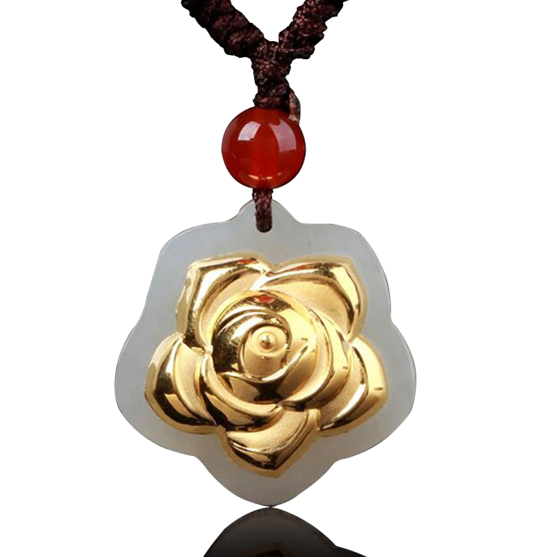 Natural Hetian jade pendant gold flower jewelry HTJ239 wholesale processing free shippingNatural Hetian jade pendant gold flower jewelry HTJ239 wholesale processing free shipping