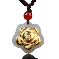 Natural Hetian jade pendant gold flower jewelry HTJ239 wholesale processing free shipping