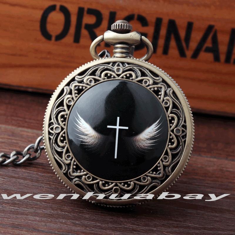 Vintag Retro Bronze Carving Cross With God's Wing Angel Black Quartz Pocket Watch Pendant Necklace Chain Women Men Gift