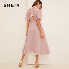 SHEIN フラッタースリーブスイスドット付きドレスエレガントなピンクパステルソリッド女性スタンド襟 A ライン半袖ドレス