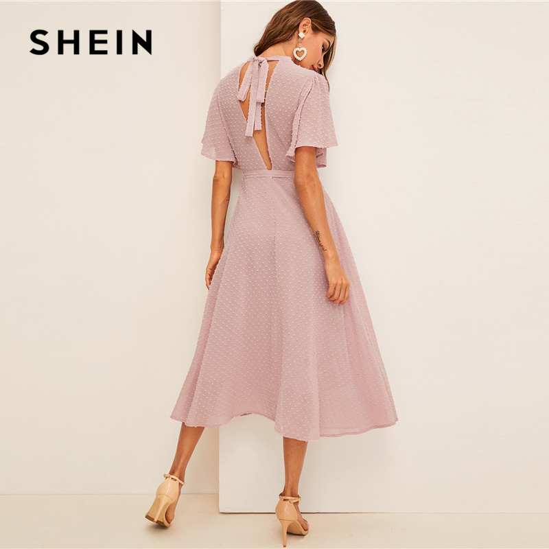 SHEIN Flutter Sleeve Swiss Dot Belted Dress Elegant Pink Pastel Solid Women Dresses Stand Collar A Line Half Sleeve Dresses|Dresses| - AliExpress