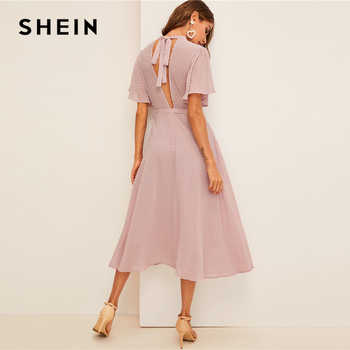 SHEIN Flutter Sleeve Swiss Dot Belted Dress Elegant Pink Pastel Solid Women Dresses Stand Collar A Line Half Sleeve Dresses - DISCOUNT ITEM  45% OFF All Category