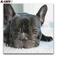 5D Diy Diamond Painting Cross Stitch small black dog heads full Embroidery french bulldog round Mosaic puppy #