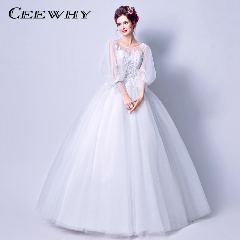 Vintage Three Quarter Length Wedding Dresses: CEEWHY Robe De Mariee Trautkleider Three Quarter Sleeve