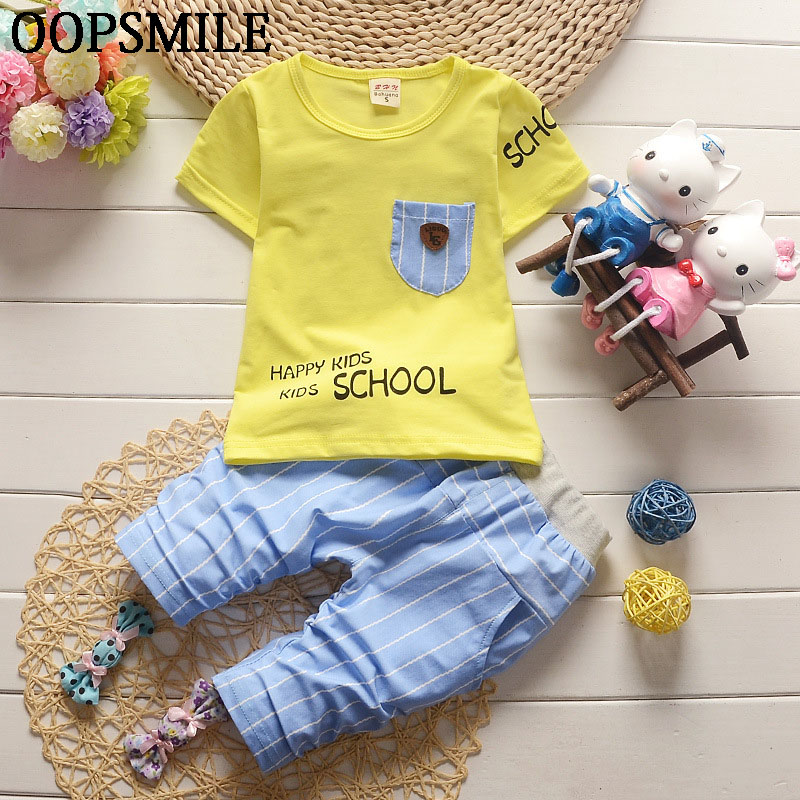 2017 Summer Baby Boys Suits Casual Style Infant Cotton Clothes Sets Male Children T Shirt+Striped Pants Fashion Kids 2pcs Suits