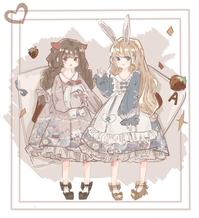 Kaninchen & Alice ~ Süße Gedruckt Hülse Halben Lolita Kleid Peter Pan Kragen Party Kleid-in Kleider aus Damenbekleidung bei  Gruppe 3