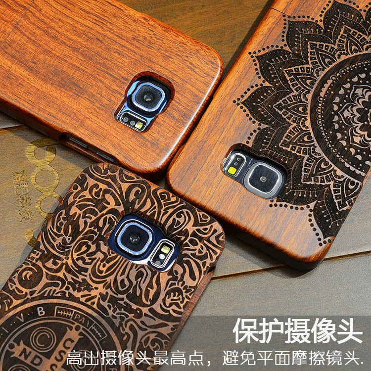 High Quality Wood Case For Samsung s6 Wooden New Cover Natural Real Bamboo Carving Wood Back Cover For Samsung galaxy s6