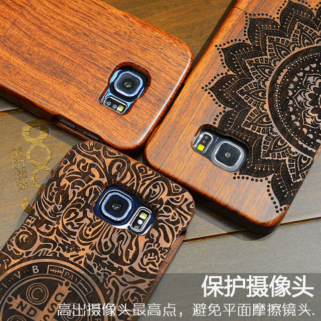 premium selection b73aa 79fd0 US $10.49 30% OFF|High Quality Wood Case For Samsung s6 Wooden New Cover  Natural Real Bamboo Carving Wood Back Cover For Samsung galaxy s6-in ...