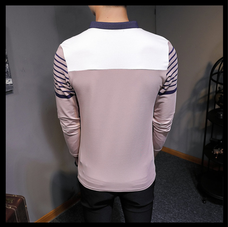 Business Casual Long Sleeve Men Polo Shirt Striped Autumn Winter Polos Cotton Slim Fit Camisa Polo Masculina 84