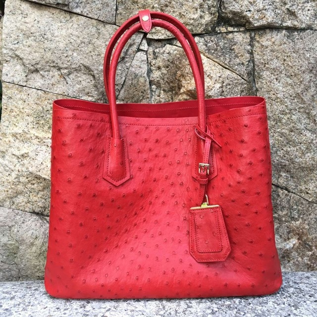 100 Genuine Ostrich Leather Skin Women Tote Bag Ping Famous High End Quality Handbag