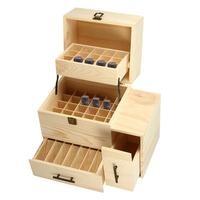 3 couches En Bois Huile Essentielle Bouteilles Boîte De Stockage Carry Organisateur Aromathérapie Récipient En Métal Serrure