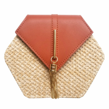 Hexagon Straw Rattan Bag 12