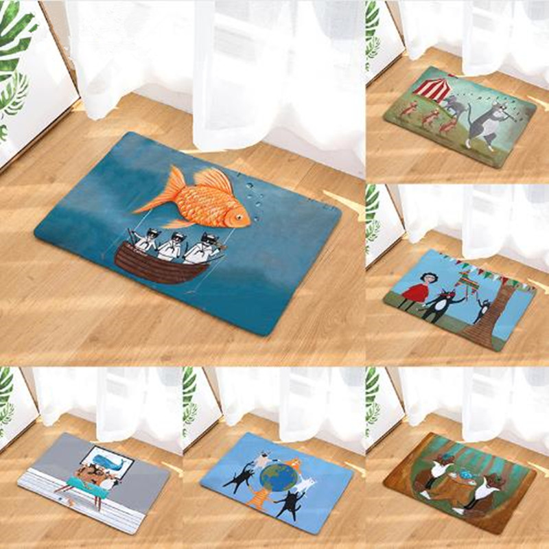 Anti-Slip Waterproof Door Mat Cartoon Cat Elephant Mouse Carpets Bedroom Rugs Decorative Stair Mats Home Decor Crafts