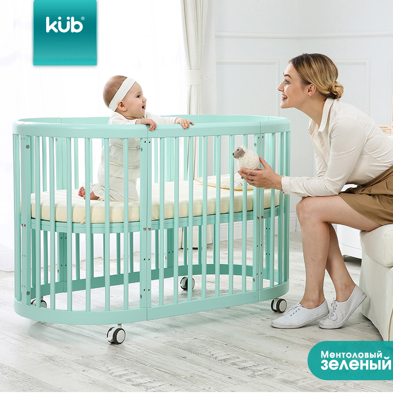 KUB can be better than crib with solid wood stitching large bed multifunctional baby bed twins round bed bb bed care table