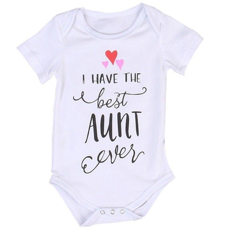 Newborn Toddler Baby Boys Girls Clothing Best Aunt Bodysuit Cotton Bodysuit Summer Baby Clothes