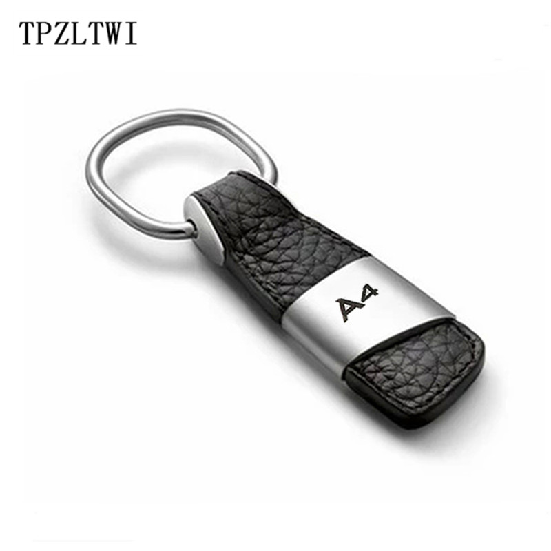TPZLTWI Black Leather Car Keychain Keyring Key Ring For Audi A4 B6 B8 B7 B5 B9 S line S4 Sline Quattro Allroad RS4 RS Emblem sanrenmu sk009d lucky number 9 carabiner with key ring
