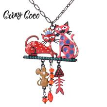 Cring Coco 2019 Couple Cat Pendant Trendy Fish Bone Black Metal Woman Cartoons Statement Beads Jewelry Necklace Chain for Womens