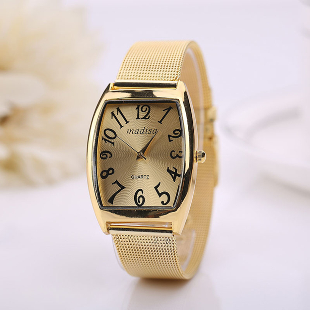 Gold Sliver Mesh Stainless Steel Watches Women Top Brand Luxury Casual Clock Lad