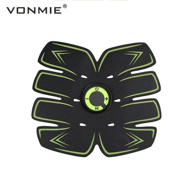 Electro Estimulador Muscular VONMIE S5C06 Abdômen Vibrando Cinto de Emagrecimento Celulite Máquina Treinador EMS Dezenas USB Recarregável