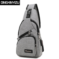 DINGXINYIZU Brand Canvas Men Chest Pack Crossbody Bag Casual Travel Rucksack Chest Bag Small Sling Bags