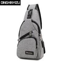 DINGXINYIZU Brand Canvas Men Chest Pack Crossbody Bag Casual Travel Rucksack Chest Bag Small Sling Bags