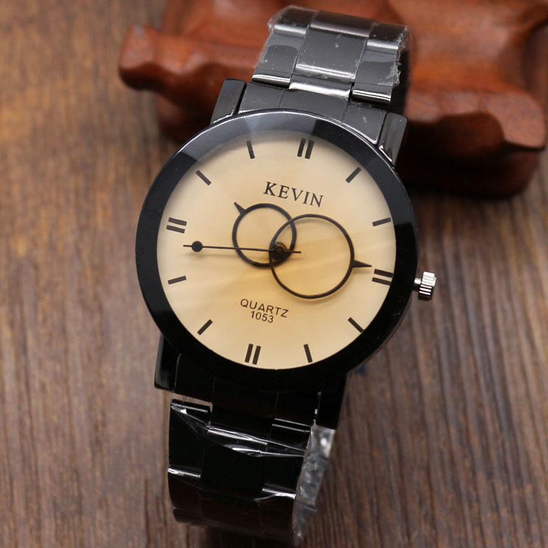 1c9df90d55d Montre homme femme KEVIN Relógio de Pulso Simples Dois Círculo Criativo  Quartzo Mostrador do Relógio Elegante Homens de Negócios Relógios Das  Mulheres ...