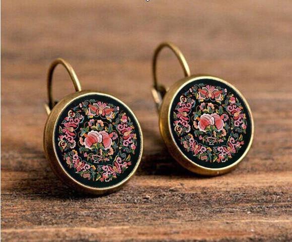 online shop handmade mandala flower stud earrings online shopping