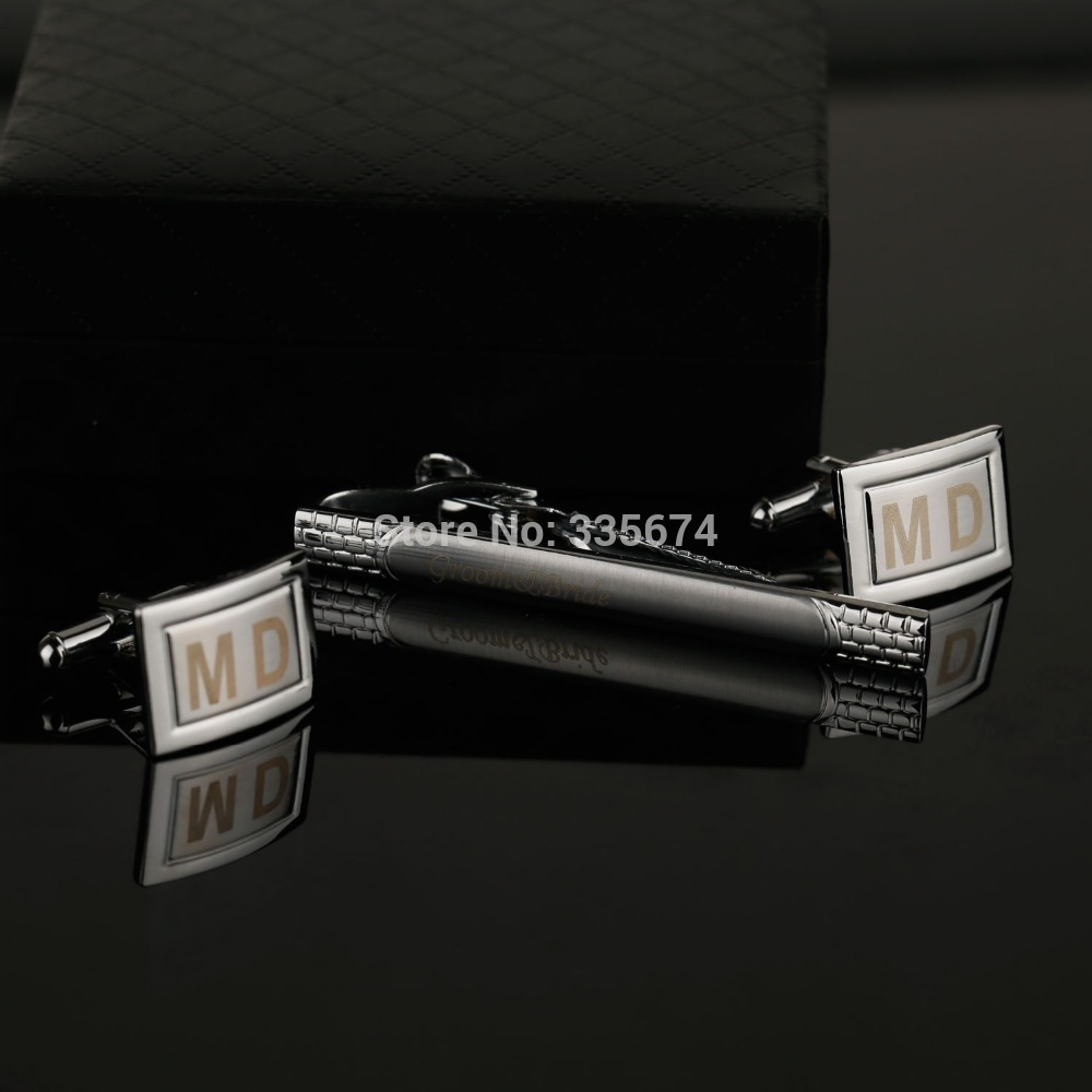 CT-005B  Personalized cufflinks and Tie Clip Sets for birthday wedding party gift Customized Cufflinks