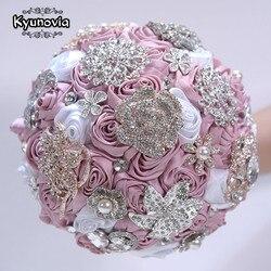 Blush Roze Bourgondië Broche Boeket Rose Gold Jeweled Wedding Bridal Kristal Bling Boquet Luxe Boeket Door Geheugen Bruiloft D59