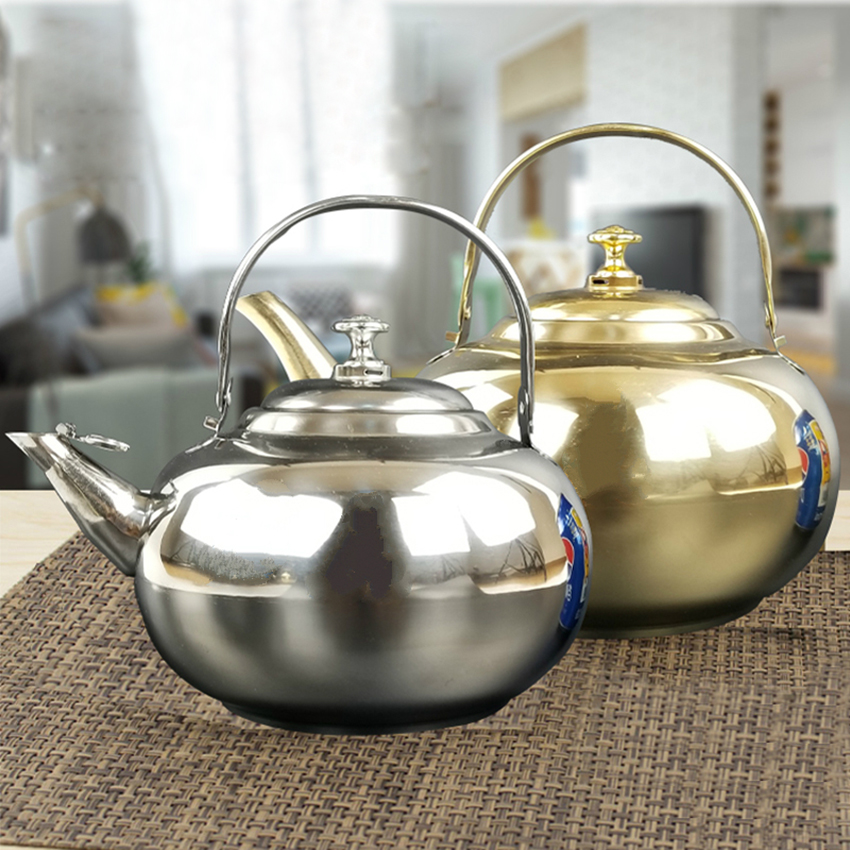 0.75/1/1.5/2L Stainless Steel tea Pot and Coffee Drip Kettle Pot With Strainer Stainless Steel Kettle Hot Water For Baris