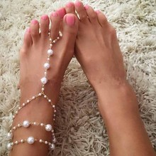 New Fashion Barefoot Pearl Anklets Link Chain Foot Jewelry for women beach jewelry