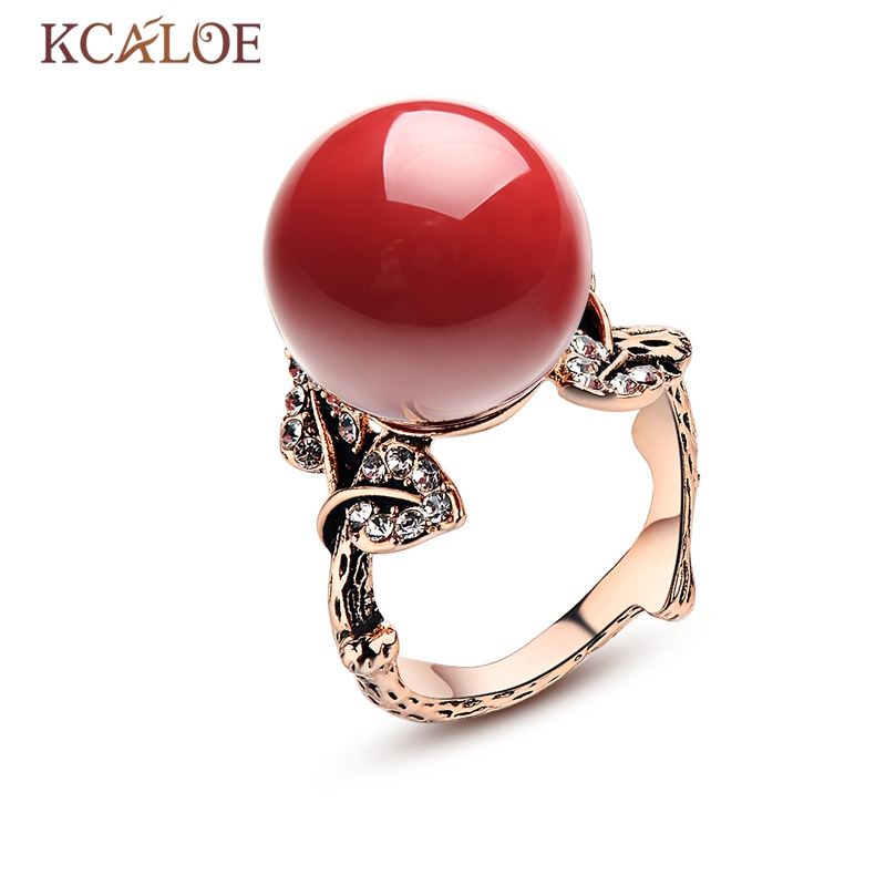 KCALOE Natural Stone Rings Red Coral Rose Gold Color Bijoux Femme Vintage Carved Crystal Rhinestone Wedding Ring Jewelry Anel