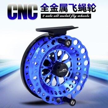 2BB CNC plein métal mouche pêche radeau poisson ligne roue Micro-radeau pêche moulinet pas de frein main cadran bobine en acier inoxydable roulement à main