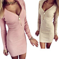 Vestidos 2017 Autumn Women Dresses Zipper V neck Sexy Knitted Dress Long Sleeve Bodycon Sheath Pack Hip Dress Vestidos GV090