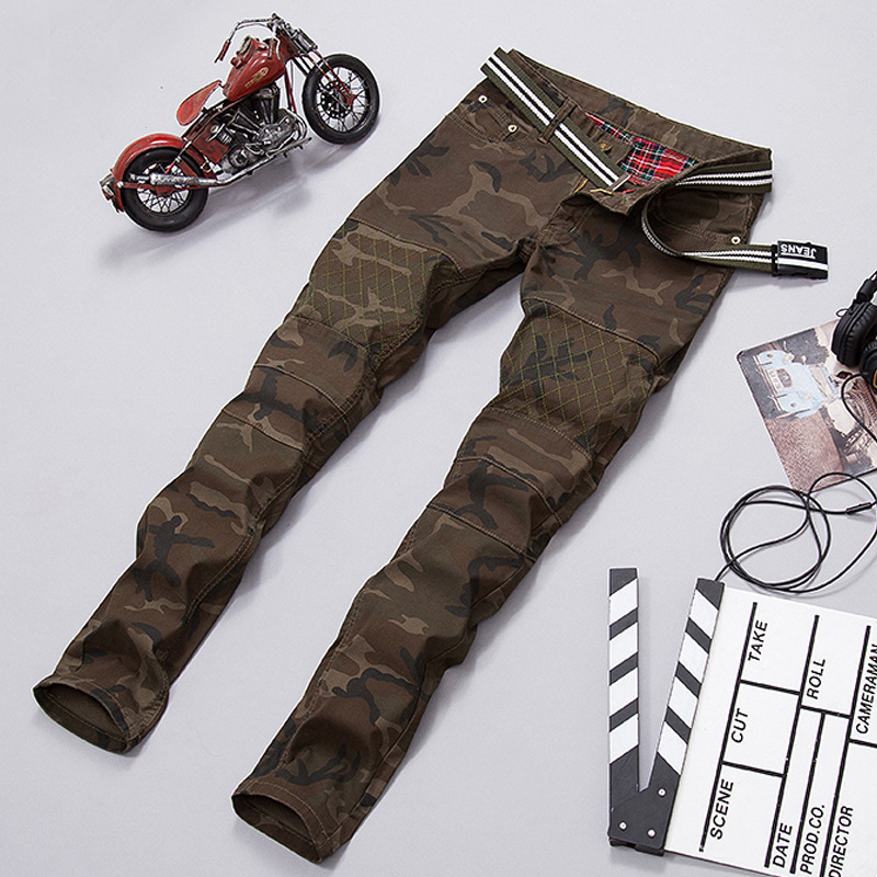 2016 Plus Size Casual Cargo Pants Mens Camouflage Straight Stretchy Jeans Casual Denim Pants HX4