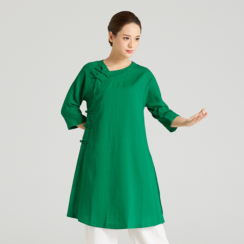 High-Quality Linen Wudang Female Gong Fu Robe 5