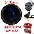 """2 """"52mm Azul Digital LED Medidor de Pressão Do Turbo-Kit com Sensor-14-30 PSI"""