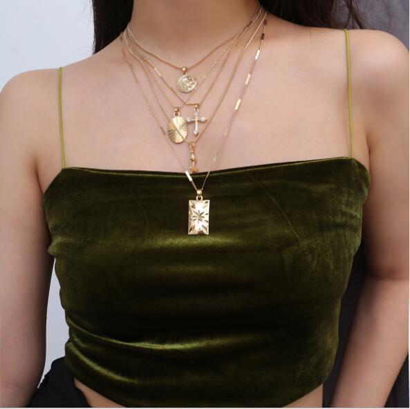Gold Sliver Necklace Set 19071006