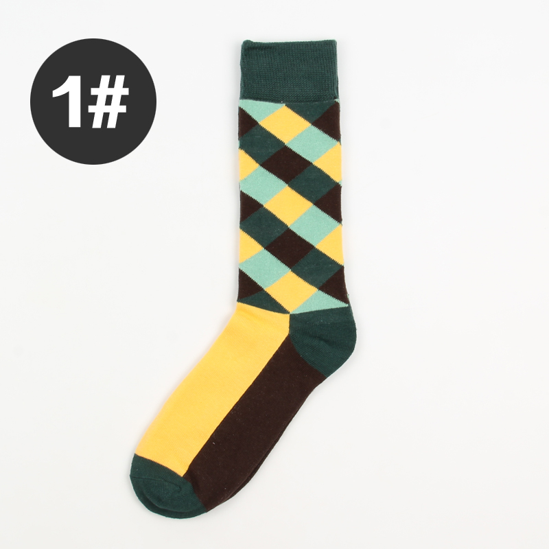 70% Cotton Colorful Chaussette Homme Diamond Argyle pattern Socks Men Dress Socks