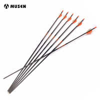 6/12/24pcs 30 Inches 100% Pure Carbon Arrows Spine 350 OD 7.6mm with Plastic Feather for 60-70lbs Bow Archery Hunting