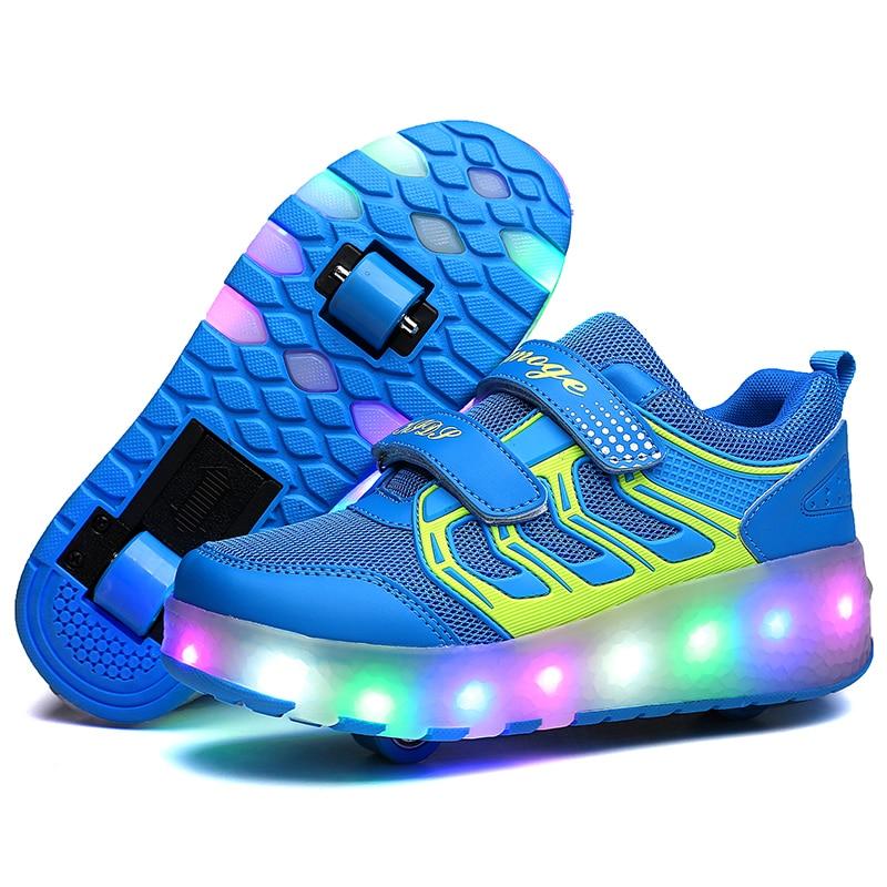 2018 led Clignotant chaussures de patinage Invisible Automatique Poulie Unique Double Roues Garçon Fille Rouleau Skate chaussures lumineuses