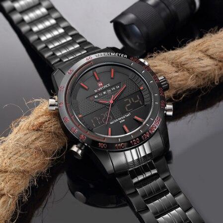 NAVIFORCE 9024 мужские спортивные часы модные роскошные мужские кварцевые брендовые аналоговые цифровые часы полностью стальные мужские наручны... - 5
